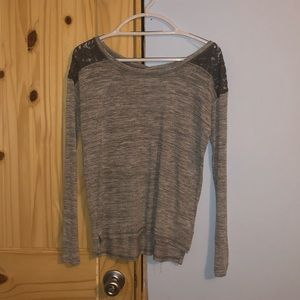 Lace shoulder grey long sleeved tee shirt